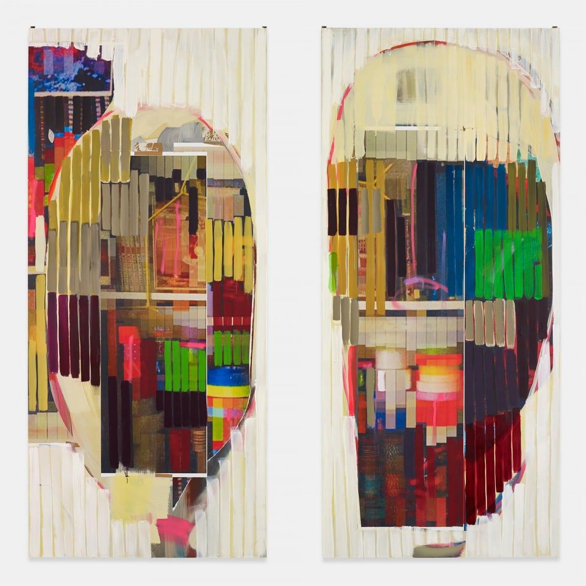 "Michael, John Kelly, Mask 12, Oil, Acrylic, Cel Vinyl, Pigment Print Collage on Panel, 80"" x 80"", 2013"