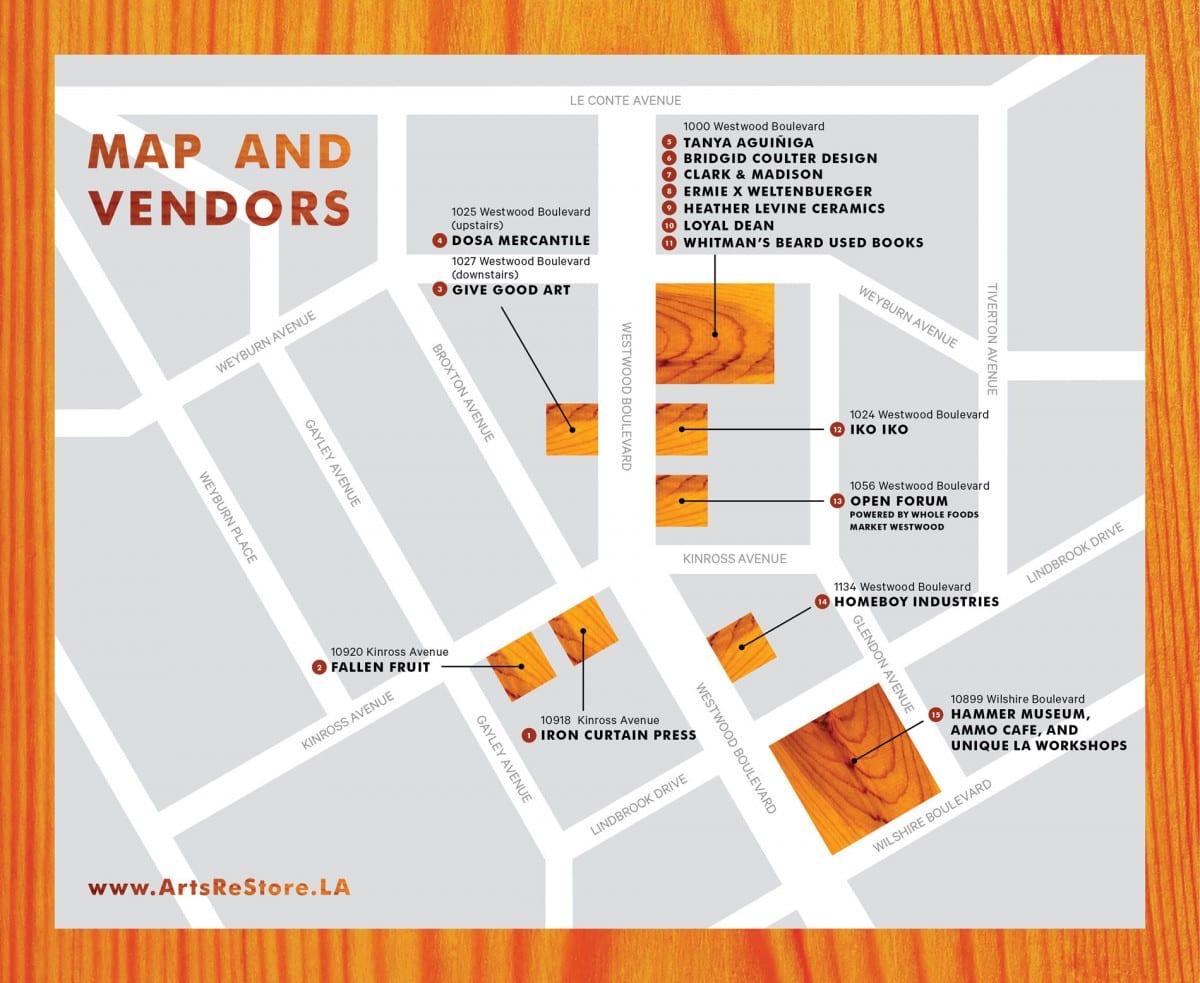 Arts Restore LA: Westwood Vendor Map