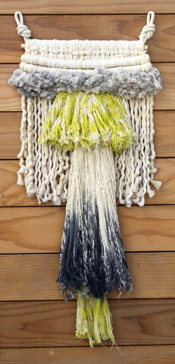 Tanya Aguiñiga Hand dyed black and chartreuse rope wall hanging.  Image courtesy of the Hammer Museum.