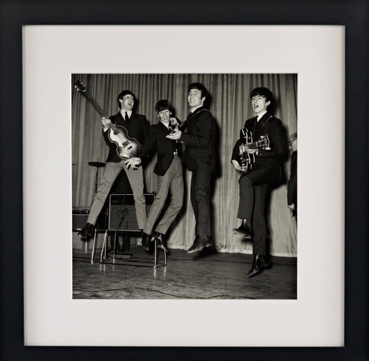 Hulton Archive, Leaping Beatles, gelatin silver print on archival fiber paper, 1963 ©Ralph Lauren Home and Getty Images