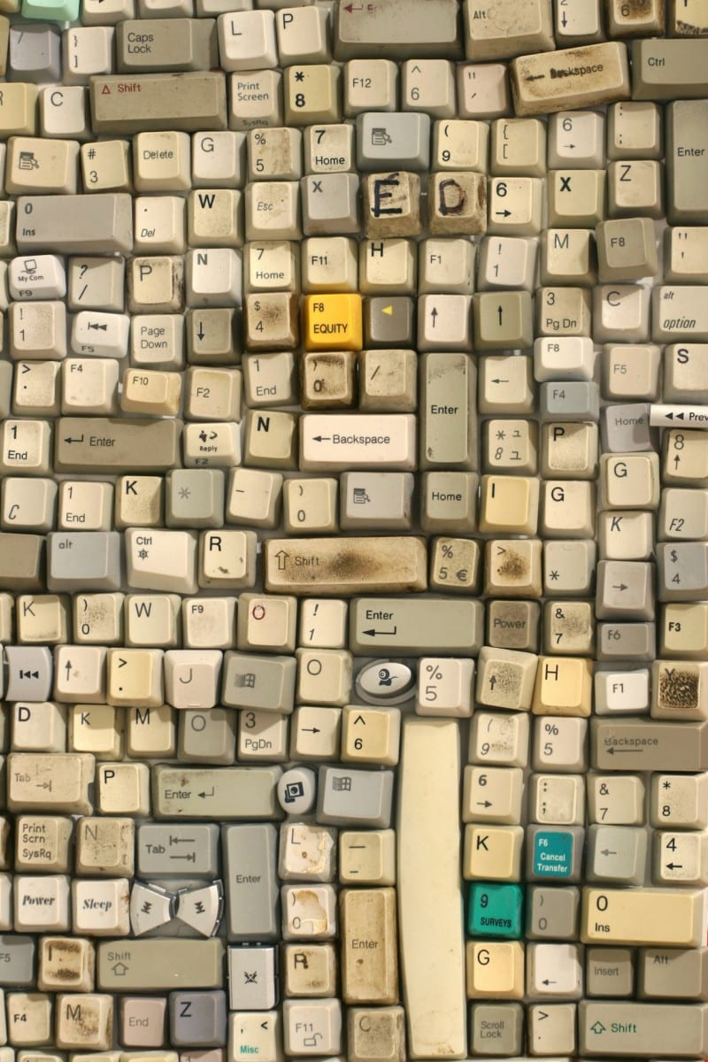 Sarah Frost, QWERTY North (detail), discarded computer keyboard keys, 12' x 17'