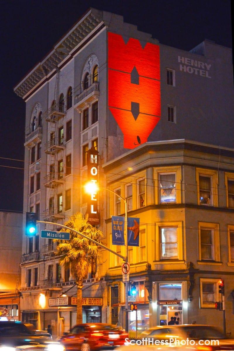 "WHY 16' x 30.4"", Fluorescent Paint, Black Light Location: 106 6th Street"