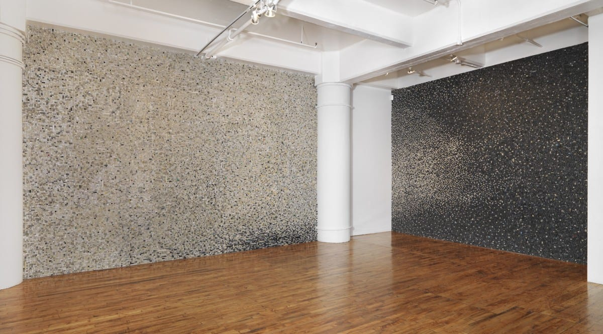 Sarah Frost, QWERTY North and QWERTY East, discarded computer keyboard keys, 12' x 17' and 12' x 14'