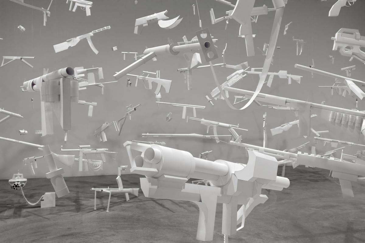 Sarah Frost, Arsenal (detail), paper, monofilament, video stills, 300 units, dimensions variable; overall dimensions 56' x 27' x 14'