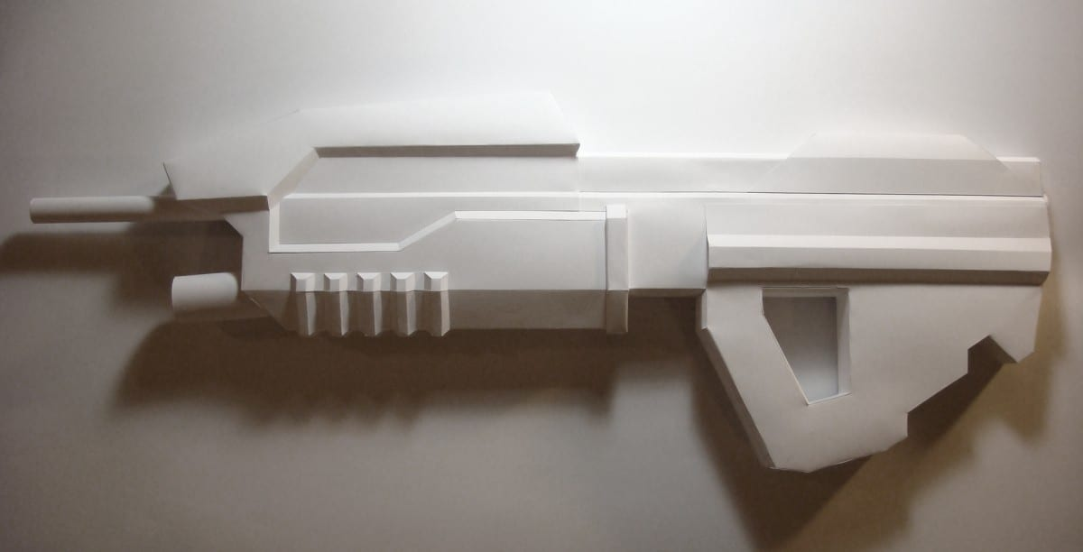 "Sarah Frost, Arsenal (detail), paper, monofilament, video stills, 300 units, dimensions variable, 24"" x 8"" x 2.5"""