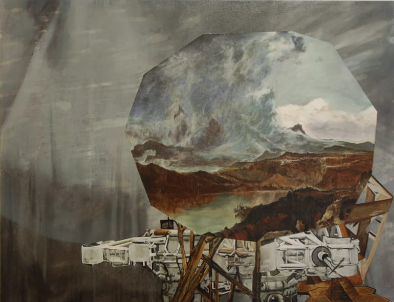 Geoff Diego Litherland, Goodbye Enemy Starship, oil, 39.4 x 51.2""