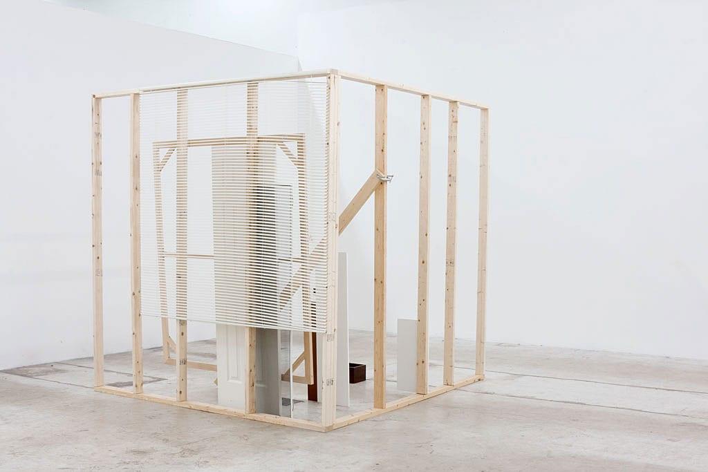 Leyden Rodriguez- Casanova, A Corner Structure Assemblage, wood, vinyl, MDF, vinyl blinds, hollow core door, steel, mirror, Dimensions variable, 2014