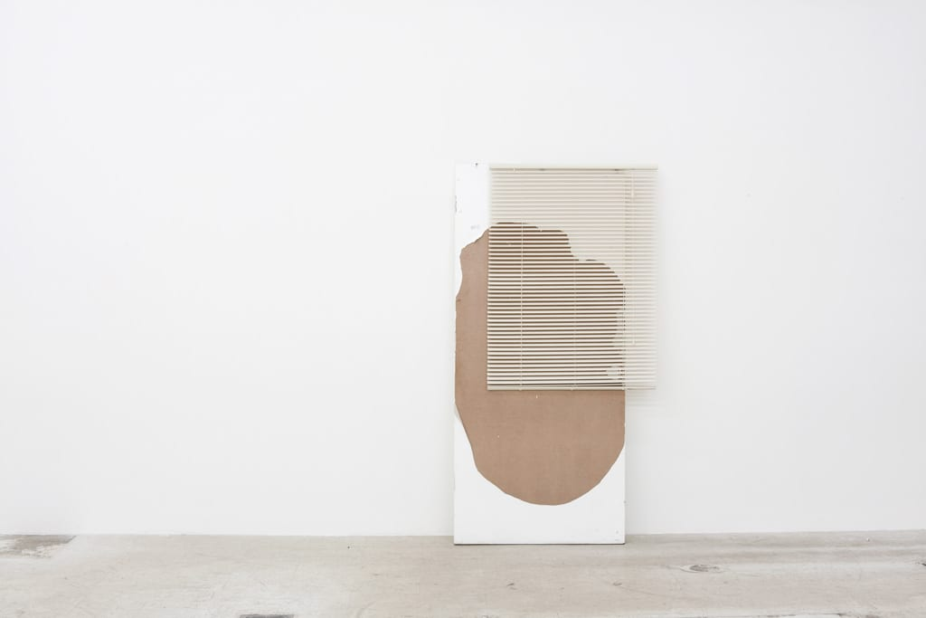 """Leyden Rodriguez-Casanova, A Degraded Door and Blinds, found door, PVC blinds, steel, 36"""" x 80"""" x 12"""", 2012"""