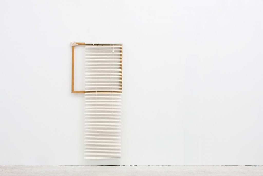 "Leyden Rodriguez-Casanova, Wood Structure, Blinds and Canvas, wood, canvas, PVC blinds, steel, 31"" x 71"", 2013"