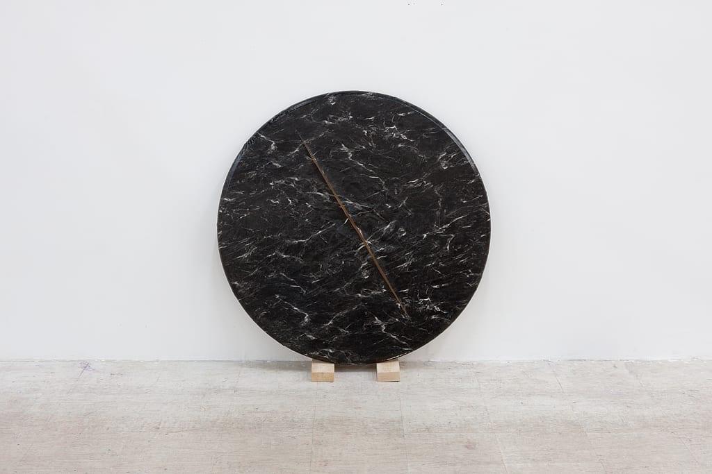 "Leyden Rodriguez-Casanova, Round Faux Marble, vinyl, wood, steel, 41.5"" x 14.5"" x 12"", 2014"