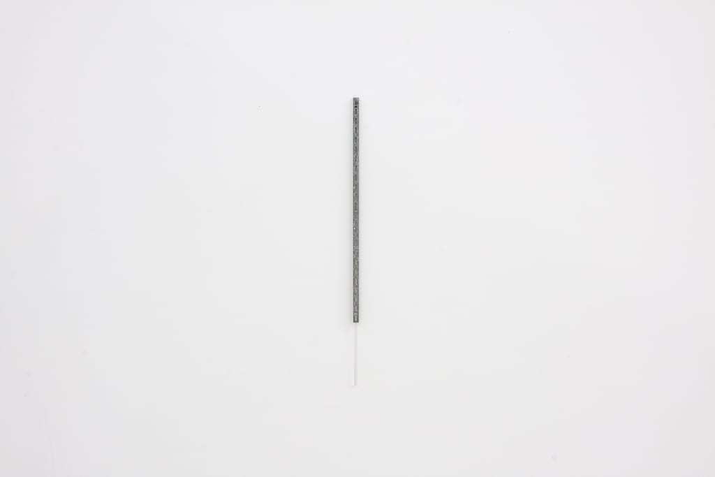 "Leyden Rodriguez-Casanova, Vertical Metal Bracket and Plastic Rod, steel bracket, plastic rod, .75"" x 31"", 2014"