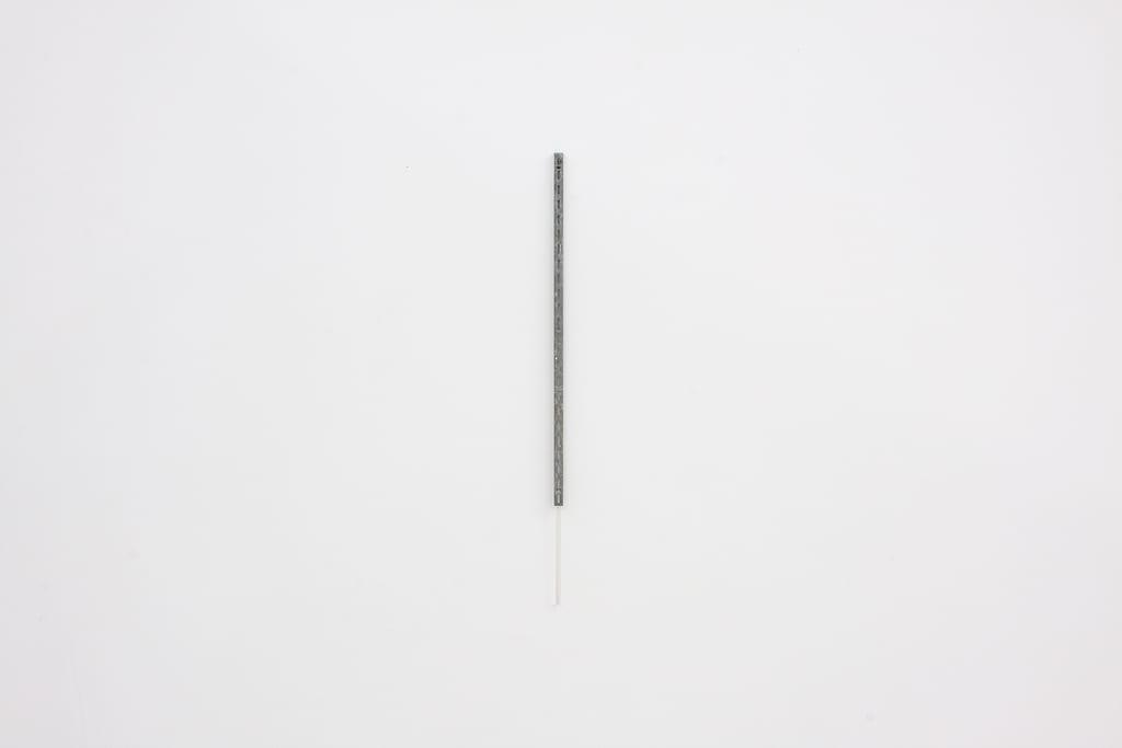 "Leyden Rodriguez-Casanova, Vertical Metal Bracket and Plastic Rod, steel bracket, plastic rod, .75"" x 31"", 2014"