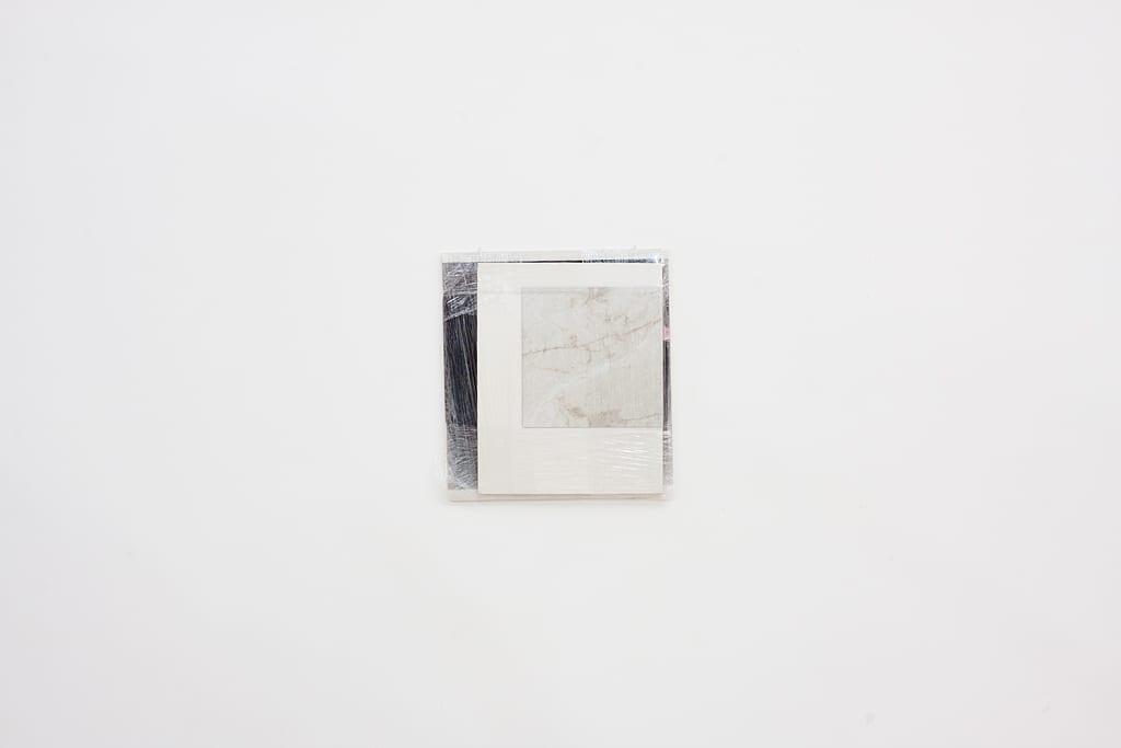 """Leyden Rodriguez-Casanova, Wrapped Surfaces, paper, foam core, plastic wrap, vinyl, 19.5"""" x 21.5"""", 2014"""