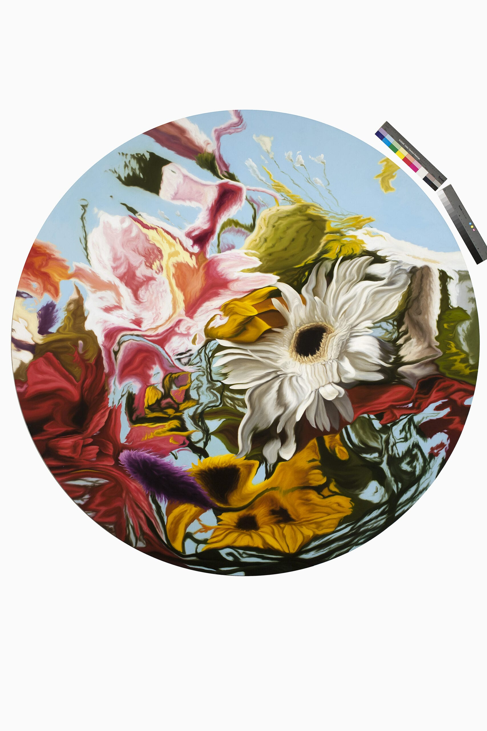 "Javier Peláez, Fake Flowers XI, oil on canvas, 76.7"" diameter,"