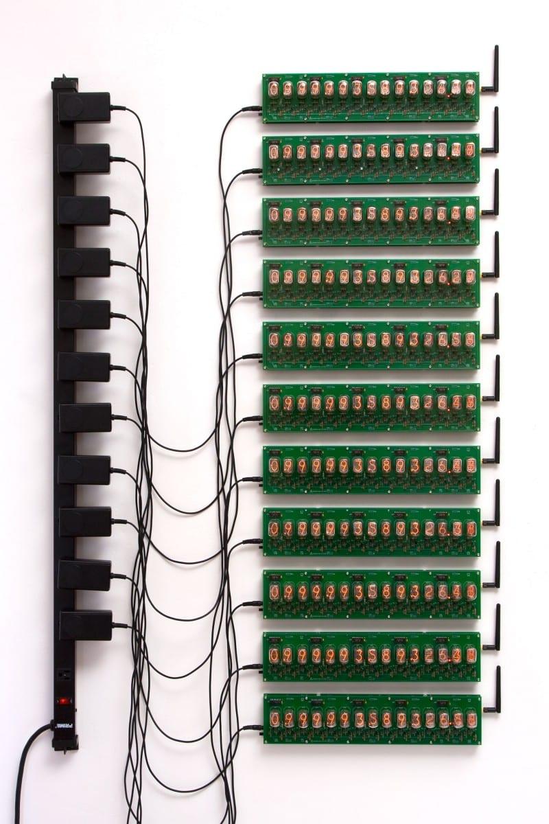 "David Adey, Omega Man (Trillion Second Countdown), Russian-suplus nixie tubes, GPS receivers, custom electronics, 2.5"" x 9.125"", 2013"