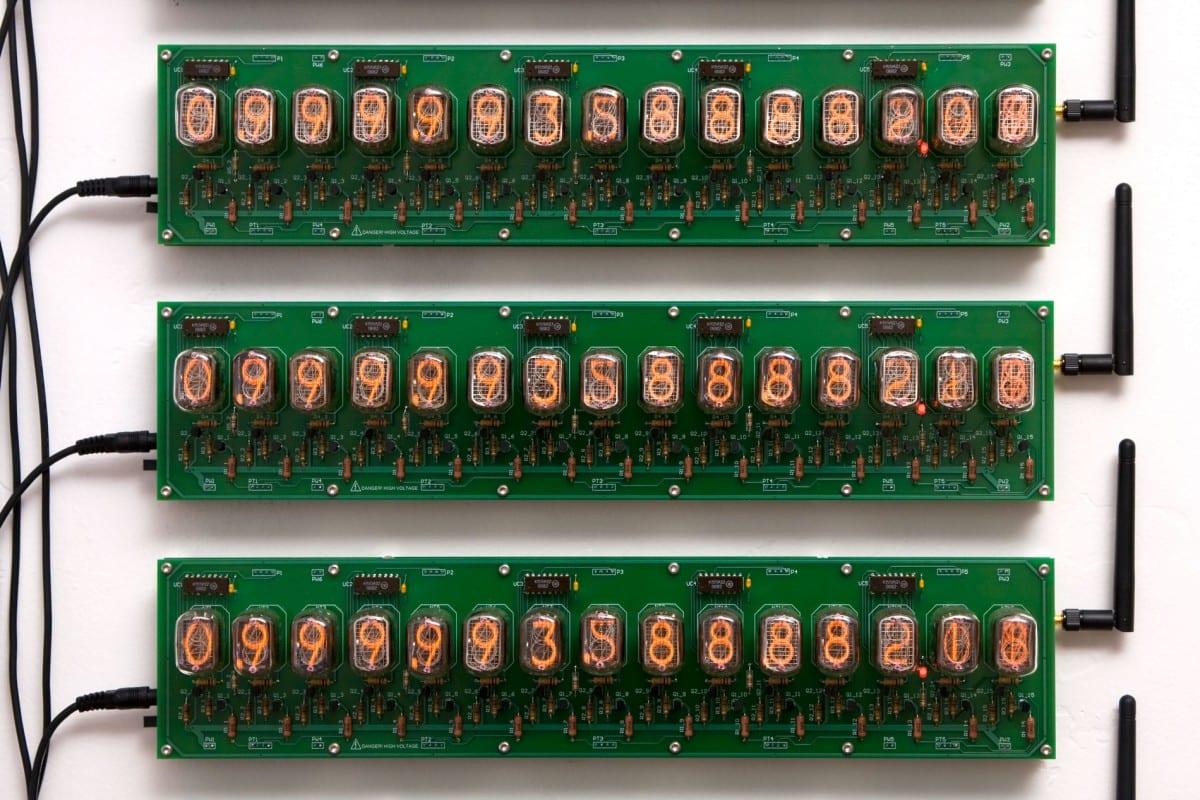 "David Adey, Omega Man (Trillion Second Countdown) (detail), Russian-suplus nixie tubes, GPS receivers, custom electronics, 2.5"" x 9.125"", 2013"