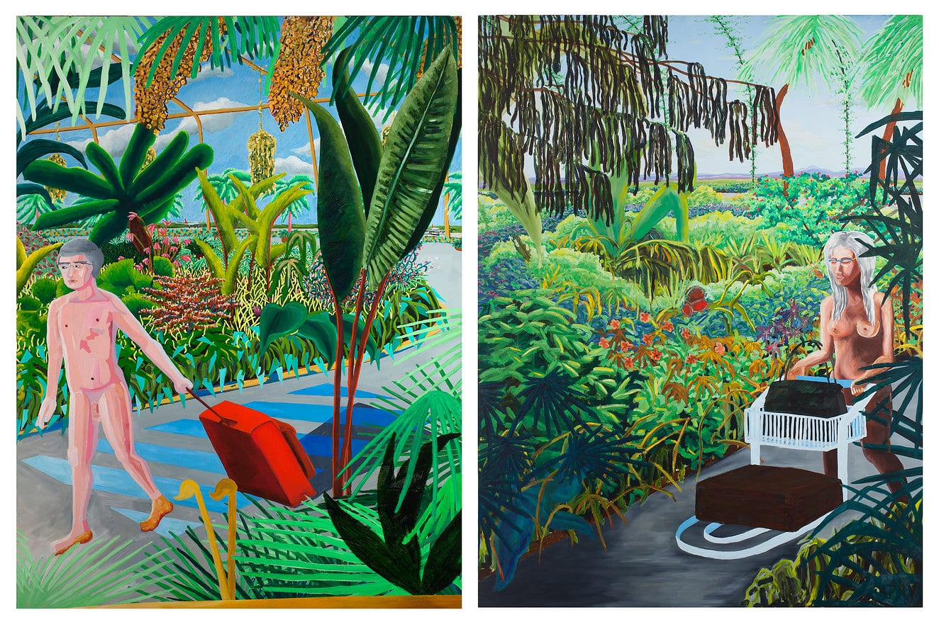 Rafael Uriegas, Adan y Eva, oil on wood, 200 x 305 cm, 2012