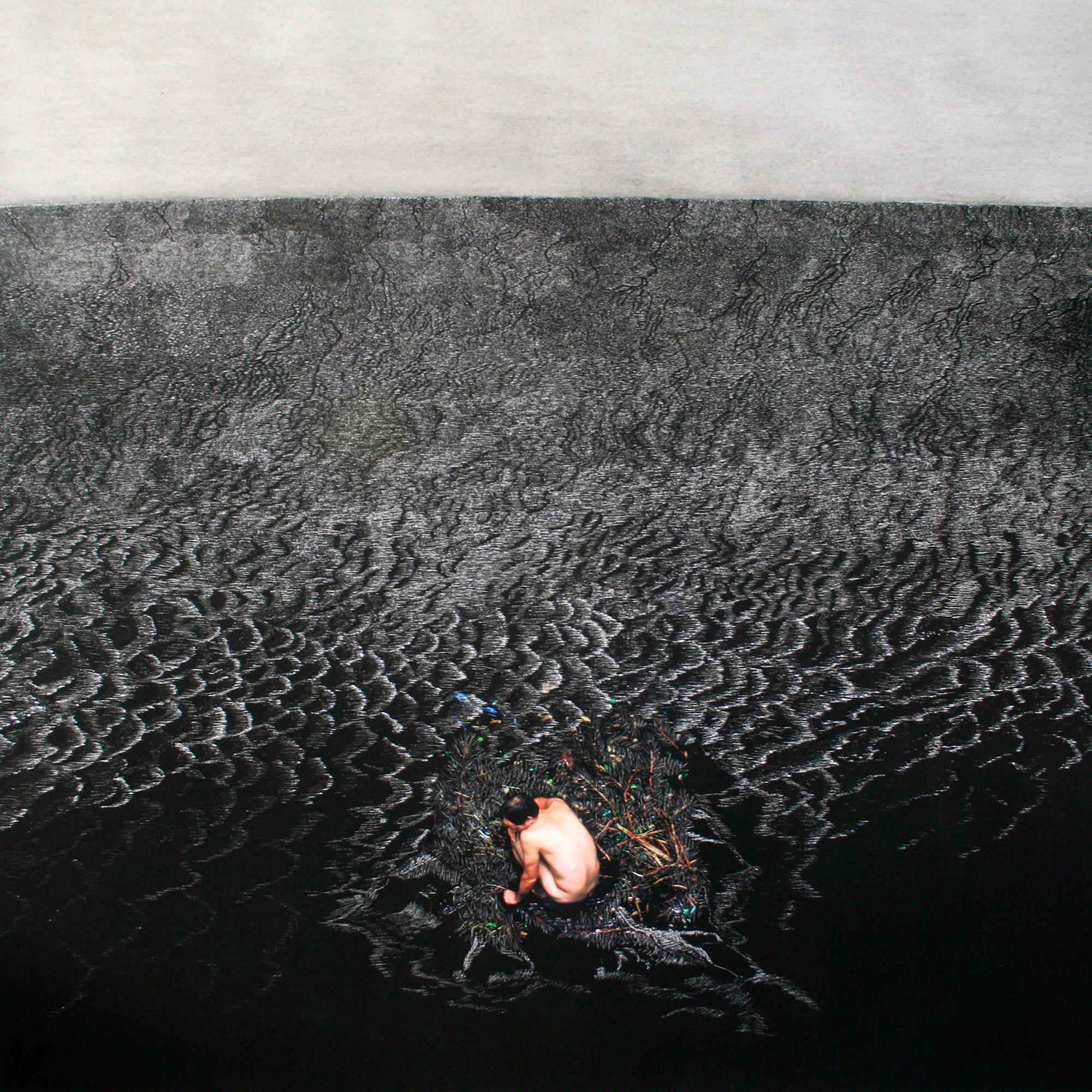 Henri van Noordenburg, Composition IX, ink on paper hand carved, 106 cm x 106 cm, 2012, Queensland Centre for Photography Collection