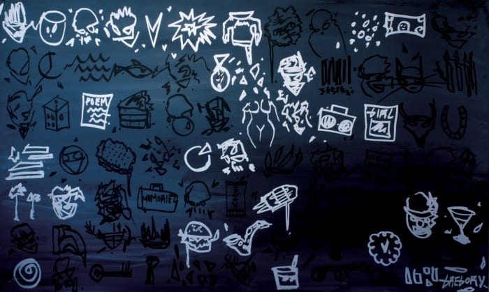 """Gregory Siff, Chalkboard, acrylic on canvas, 36"""" x 60"""", 2013, signed © of the artist"""