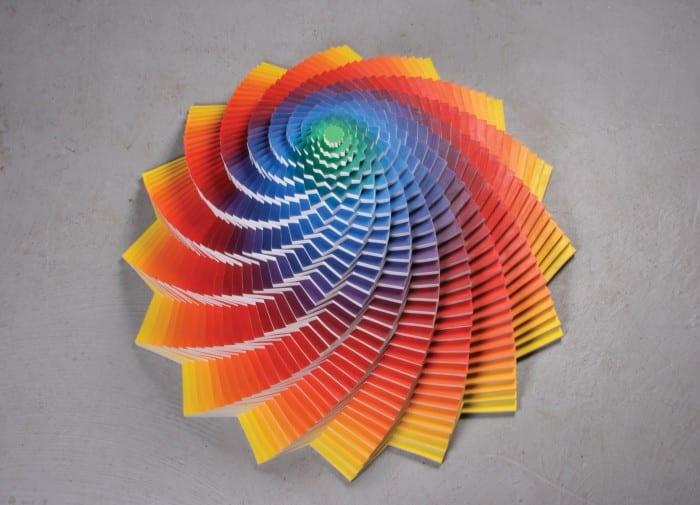 "Jen Stark, Tri Angular, acrylic on wood, 35"" x 35"" x 35"", 2010, signed © of the artist"