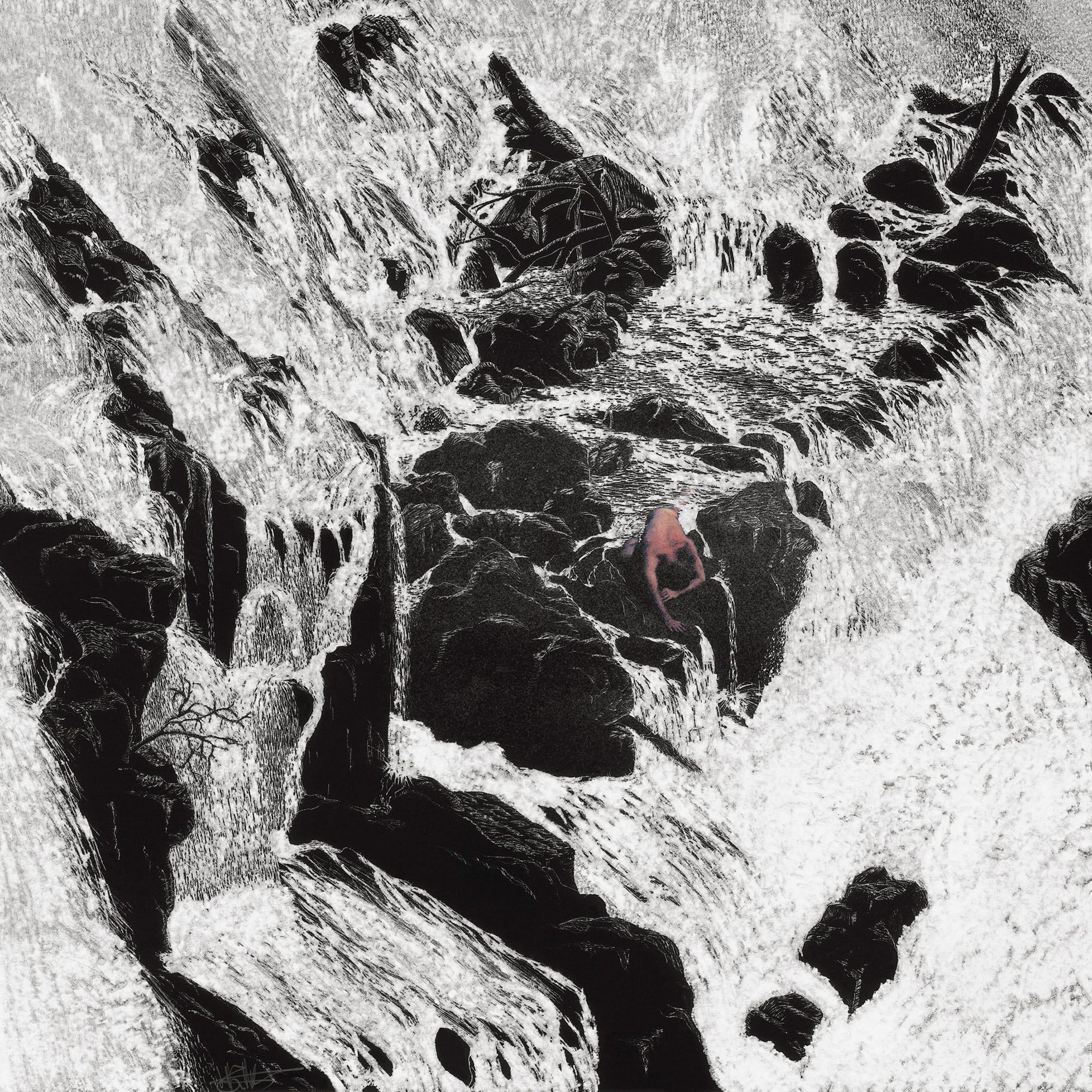Henri van Noordenburg, Composition XIX, ink on paper hand carved, 50 cm x 50 cm framed, 2013