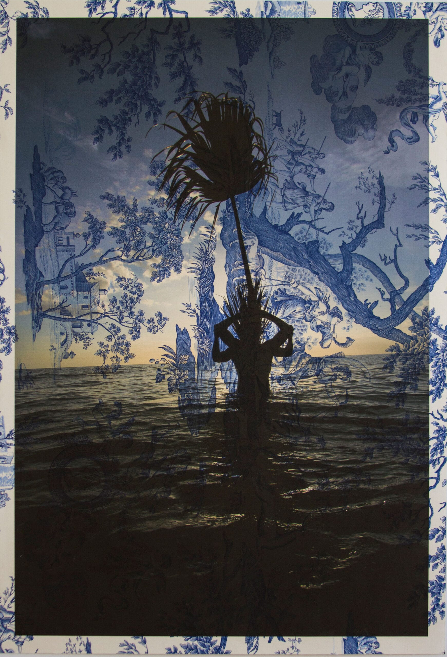 "Tim Hailand, Arnaud Cizergues and Damien Jalet Gulf of Mexico sunset (on blue mythical toile), digital pigment print on patterned toile de Jouy fabric, 38"" x 26"", unique print, 2013"