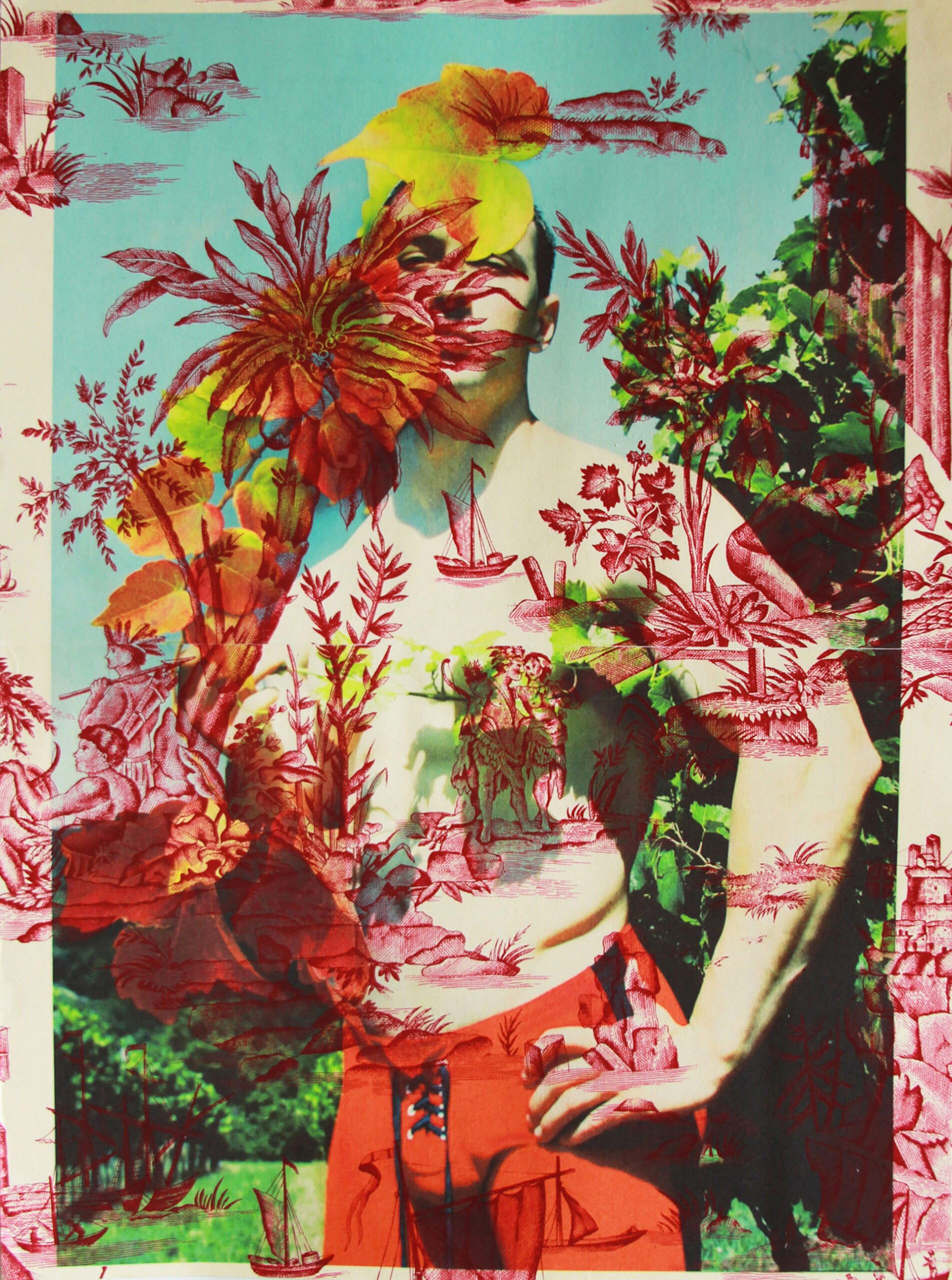 "Tim Hailand, Dan Vineyard Vienna re-photographed Berlin (on Red Indian toile), digital pigment print on patterned toile de Jouy fabric, 25"" x 19"", unique print, 2012"