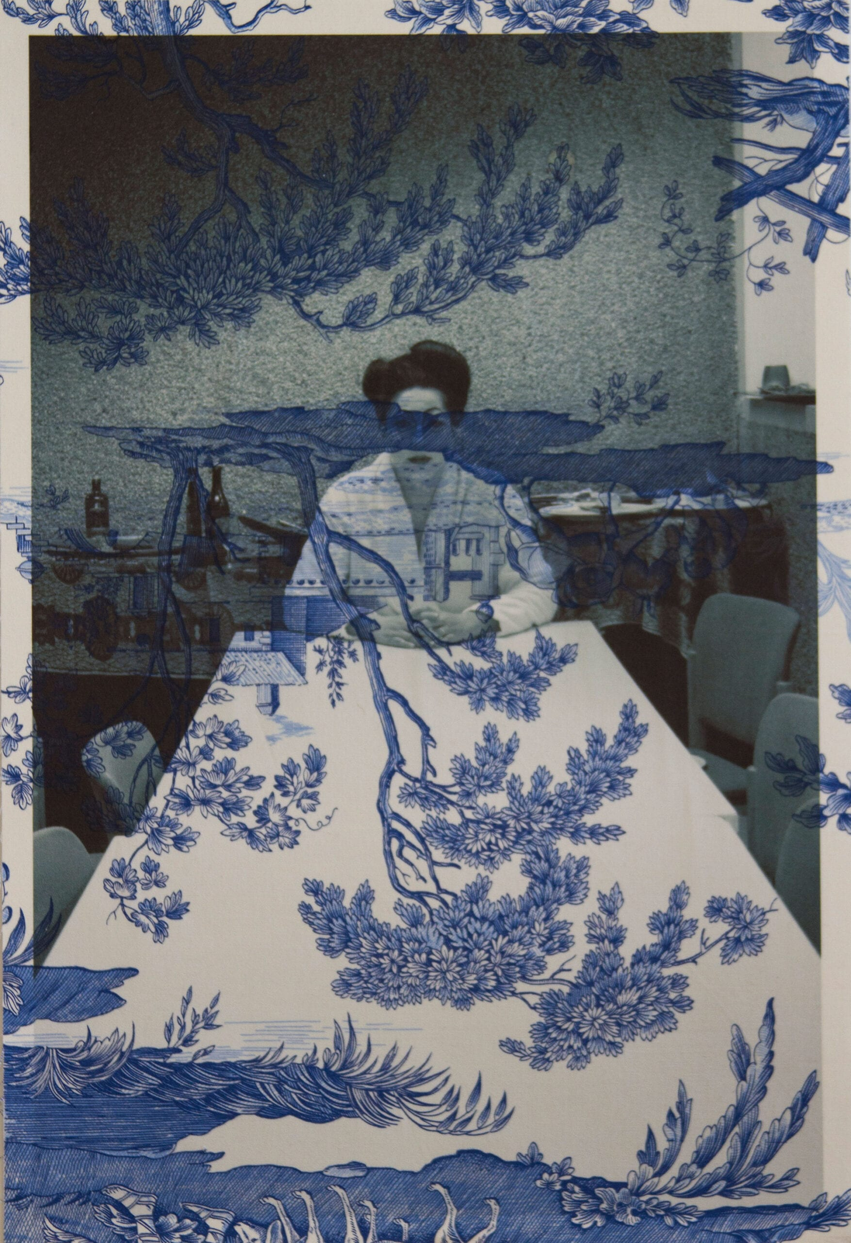 "Tim Hailand, Marina Abramovic backstage Antwerp (on blue mythical toile), digital pigment print on patterned toile de Jouy fabric, 19"" x 13"", unique print, 2012"