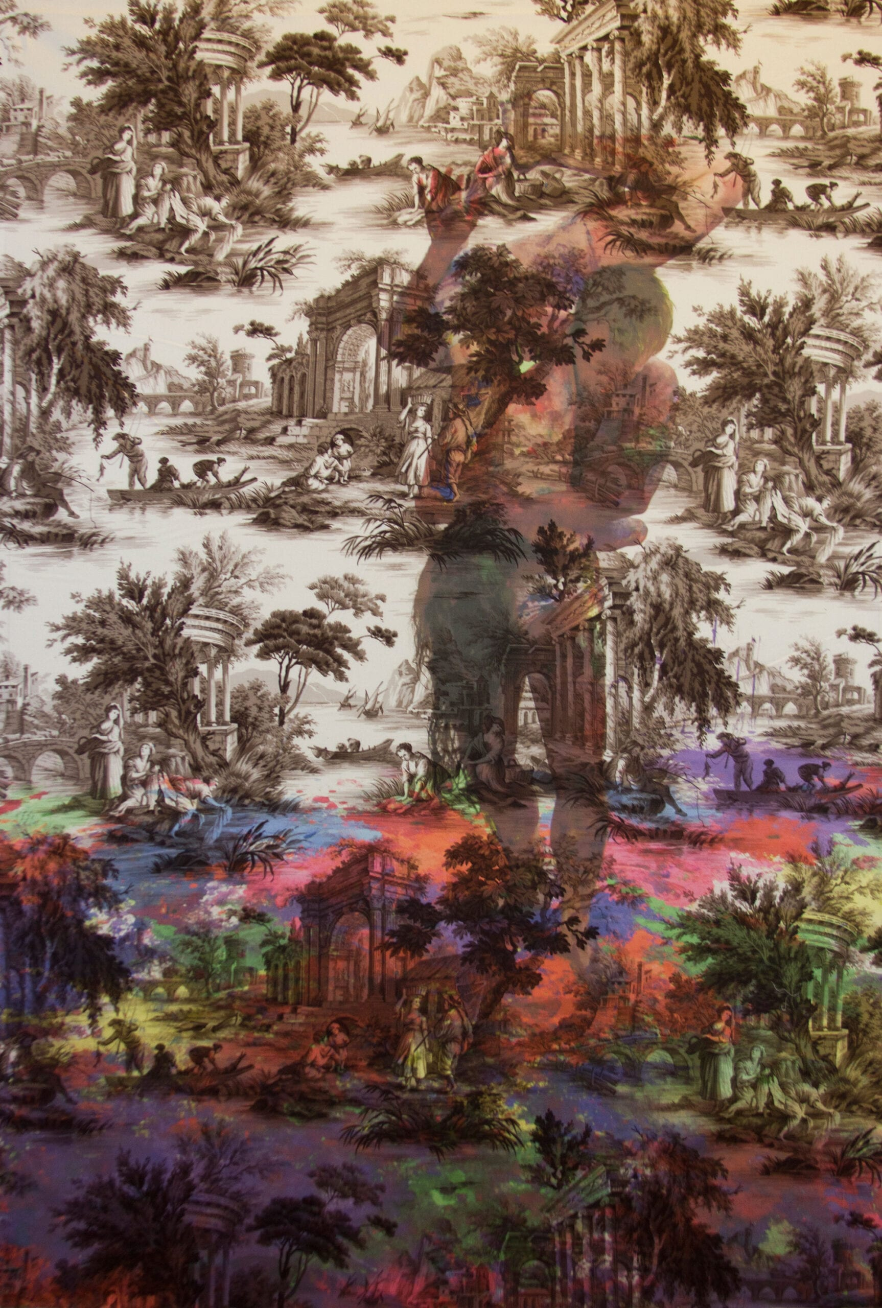 "Tim Hailand, Damien Jalet and Alexandra Gilbert in Jim Hodges paint sculpture New York (on brown pastoral toile), digital pigment print on patterned toile de Jouy fabric, 60"" x 40"", unique print, 2013"