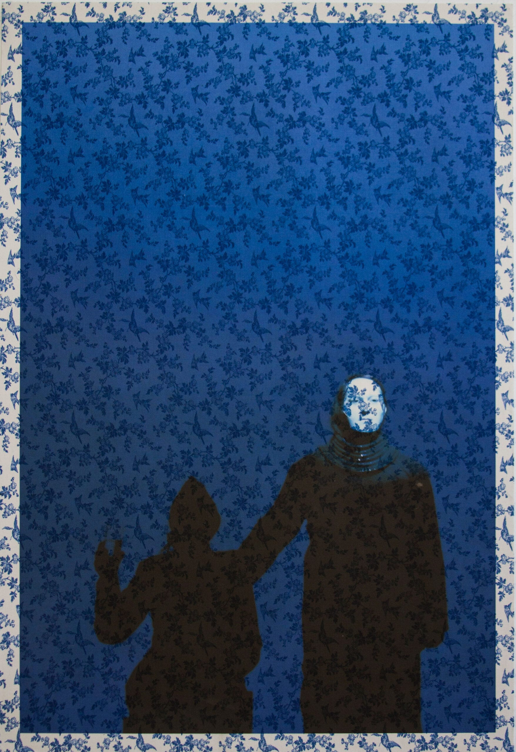 "Tim Hailand, Marina Abramovic and Antony on stage Manchester (on Bluebird toile), digital pigment print on patterned toile de Jouy fabric, 38"" x 26"", unique print, 2012"