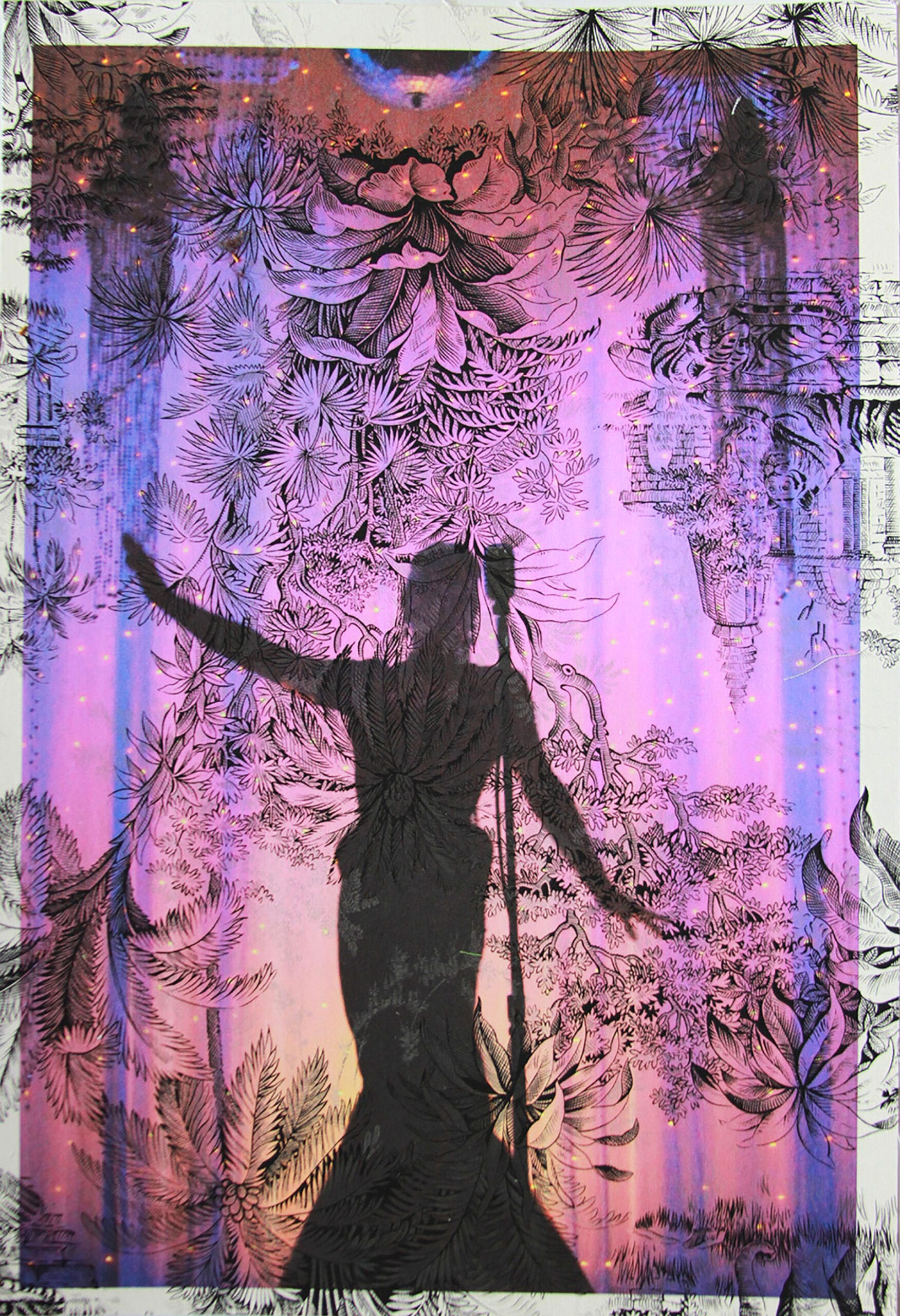 "Tim Hailand, Joey Arias in Mugler gown New York ( on black tiger toile), digital pigment print on patterned toile de Jouy fabric, 19"" x 13"", unique print, 2012"