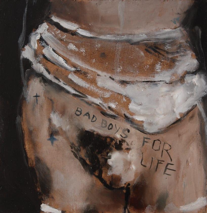Sam Jackson, Bad boys for Life, oil on board, 20 x 19.5 cm, 2014