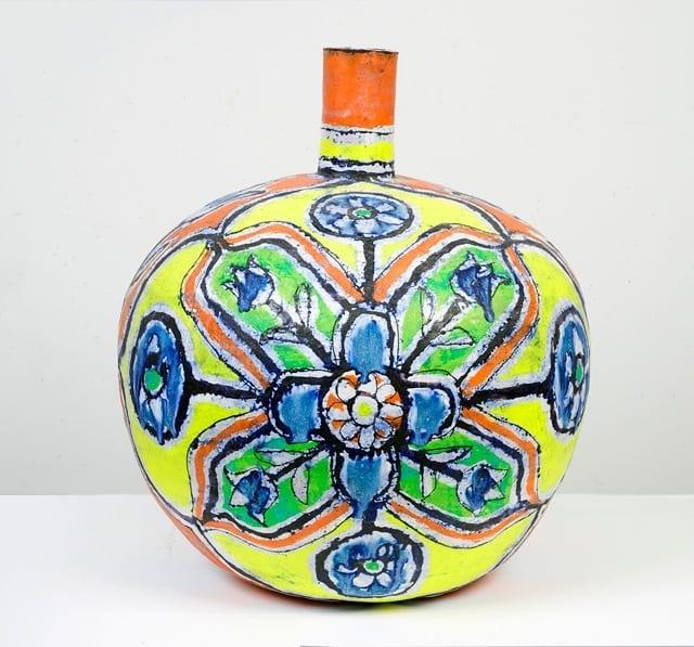 "Elisabeth Kley, Large Round Yellow, Red & Lime Bottle, glazed earthenware, 21"" tall, 2013 © SEASON"