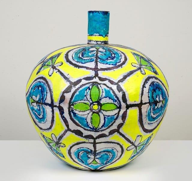 """Elisabeth Kley, Large Round Turquoise & Yellow Bottle, glazed earthenware, 21"""" tall, 2013  © SEASON"""