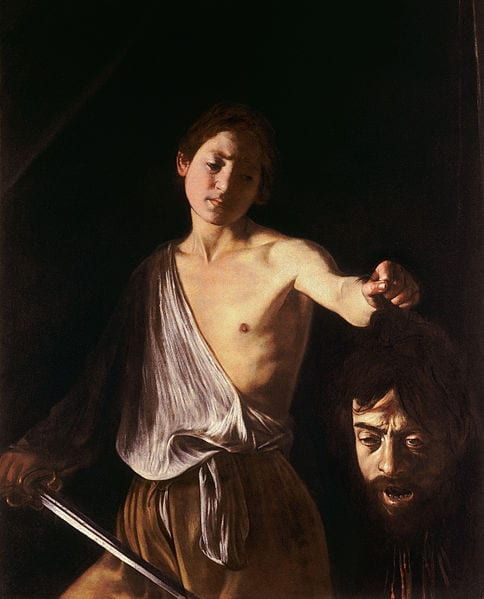 Caravaggio's David with the Head of Goliath (1611) and an illustration by Ed Valigursky