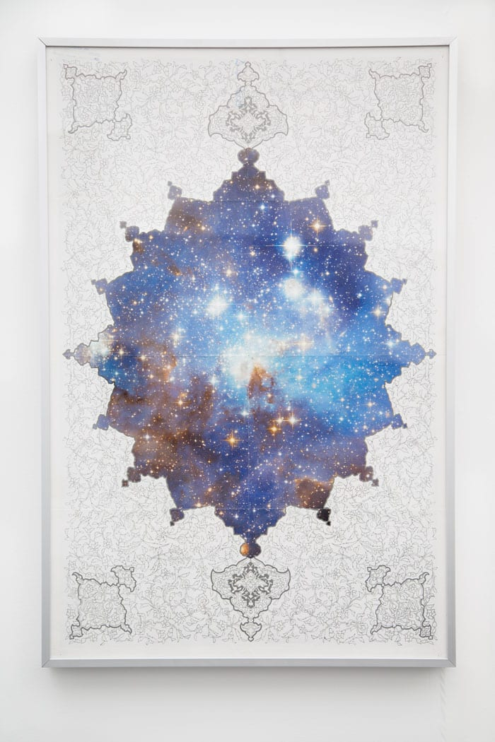 "Ala Ebtekar, MegaForce, ink and digital pigment on found poster in lightbox, 41"" x 27"", 2013 © Charlie James Gallery"
