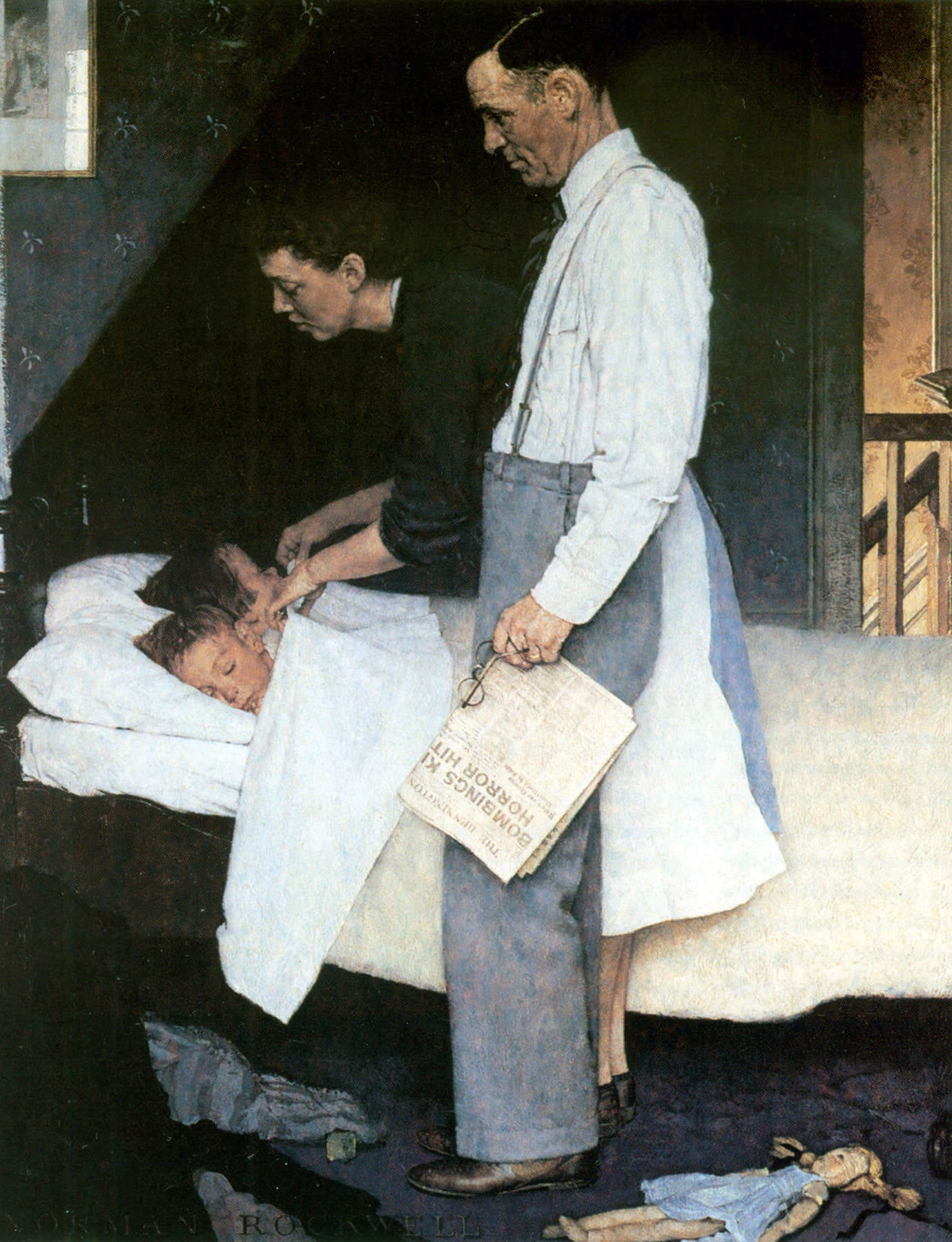 After: Norman Rockwell's Freedom from Fear (1943) and an illustration by Ed Valigursky