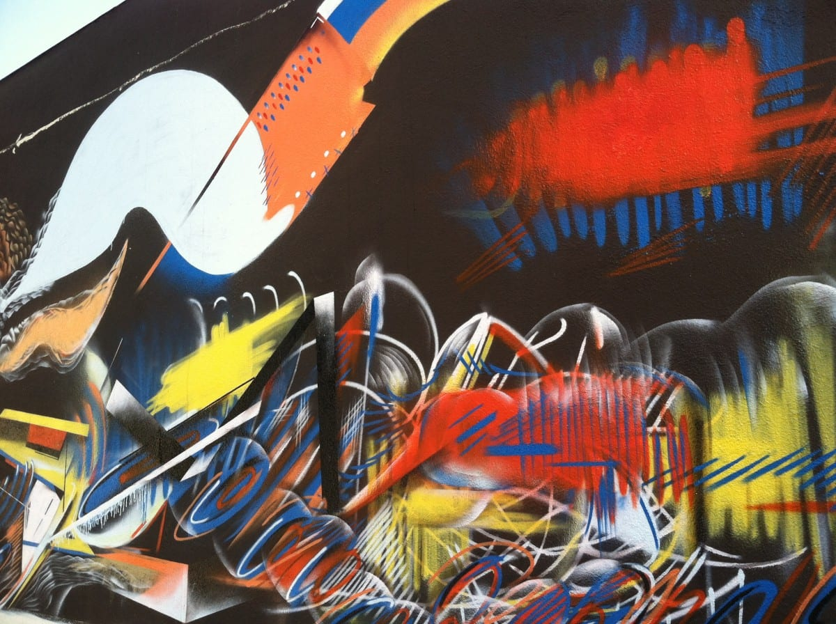 Gianni Arone, section of mural in Highland Park, aerosol, 60'