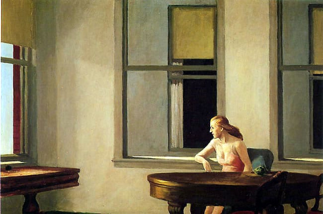 Edward Hopper's City Sunlight (1954) and an illustration by Ed Valigursky
