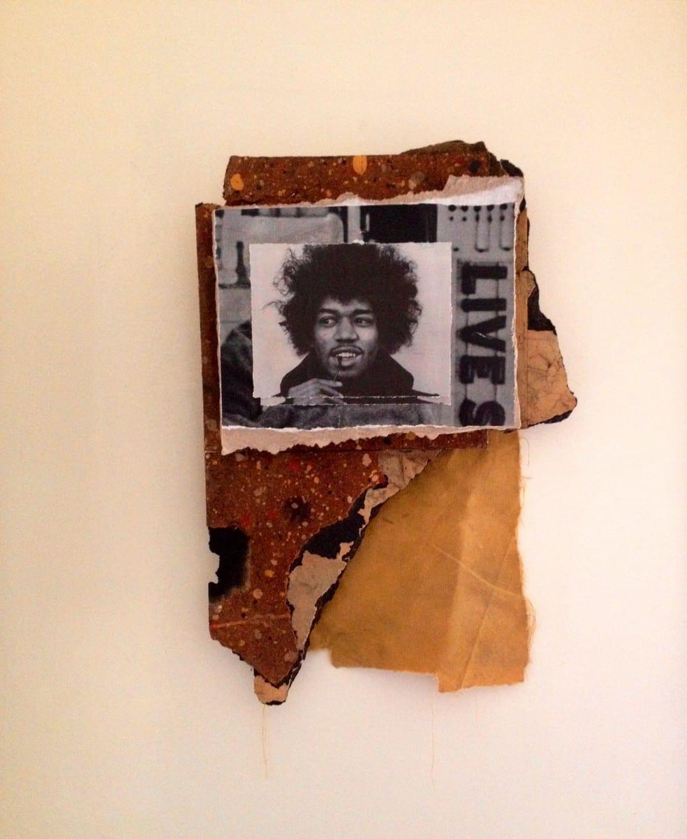"Jimmy Ray Flynn, Jimi Hendrix LIVES, Mixed Media Collage 12"" x 17"", 2013"