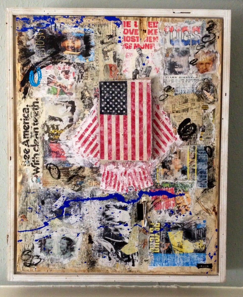 "Jimmy Ray Flynn,  FLAG                  Mixed Media Collage 26"" x 36"", 2014"