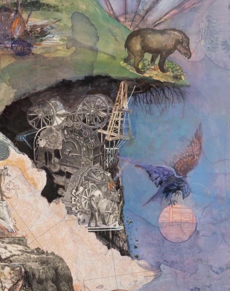 """Josh Dorman, Mined Land (detail), 76"""" x 96"""", 2014."""