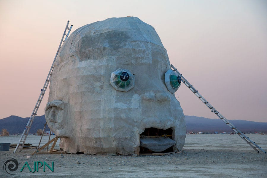 Last touches on Pyshcokinetic Child before the Burning Man gates opened.