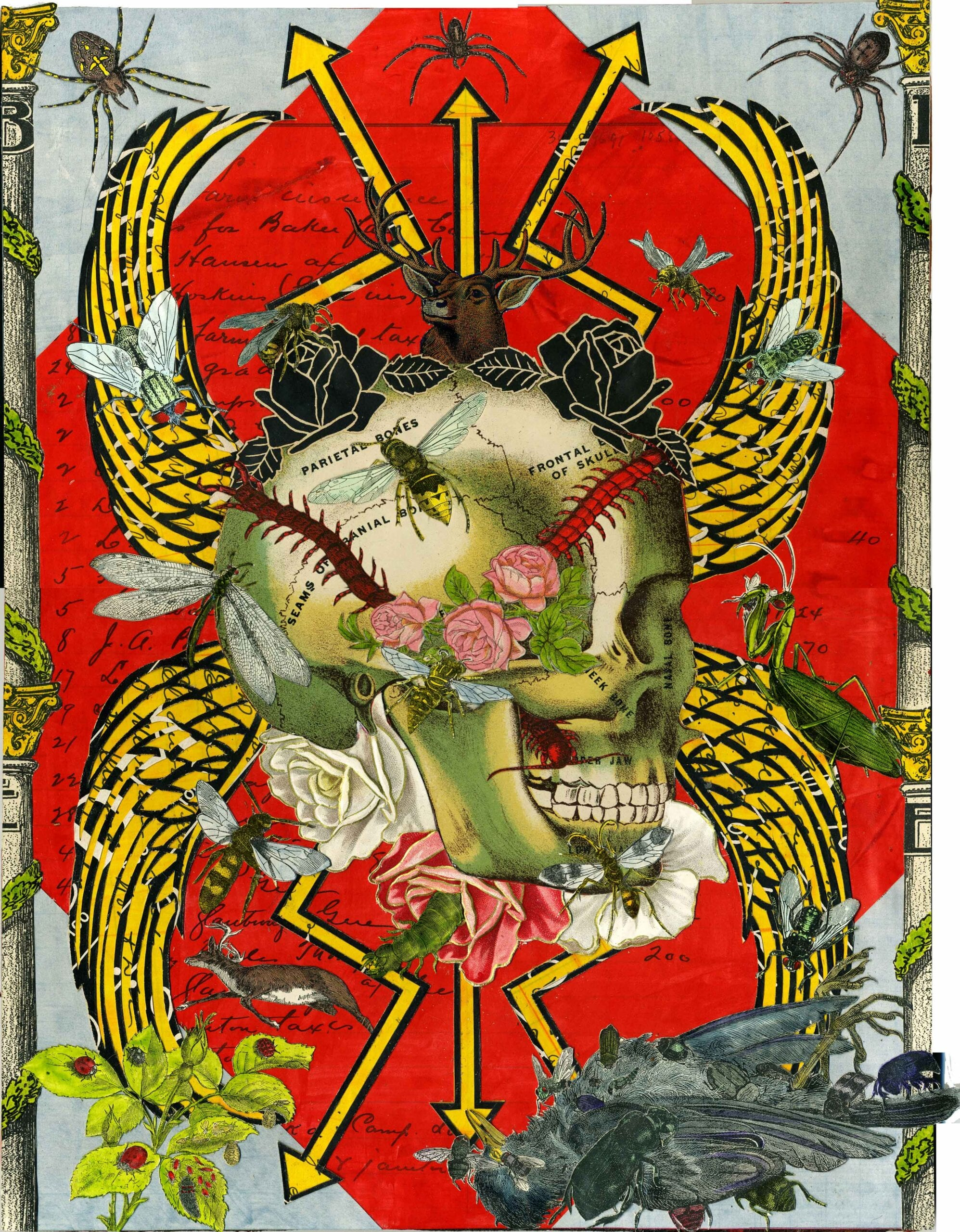 "Michael Pajon, The Sincerity of Death and Roses, mixed media collage on antique book covers, 19"" x 16"", 2014. Courtesy of Jonathan Ferrara Gallery, New Orleans."