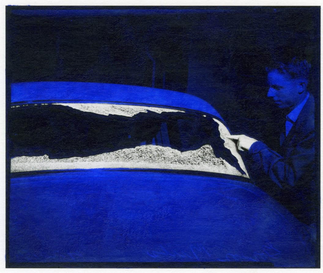 Masood Kamandy, Pitted card window, acrylic on print, 1954-2010