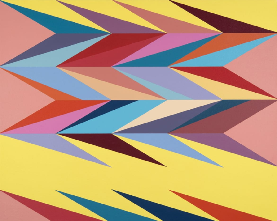 "Odili Donald Odita, Surface Charge 1, acrylic on canvas, 24 1/4"" x 30 1/4"", 2014"