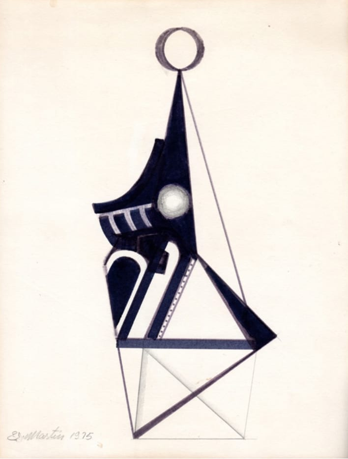 "Eugene James Martin, Untitled, pencil and black marker on paper, ca. 11"" by 8 1/2"", 1975"