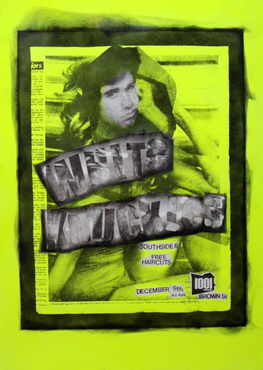 """Rob Tarbell, Farrahbarino Major, smoke, acrylic on paper, 44"""" x 30"""", 2014"""