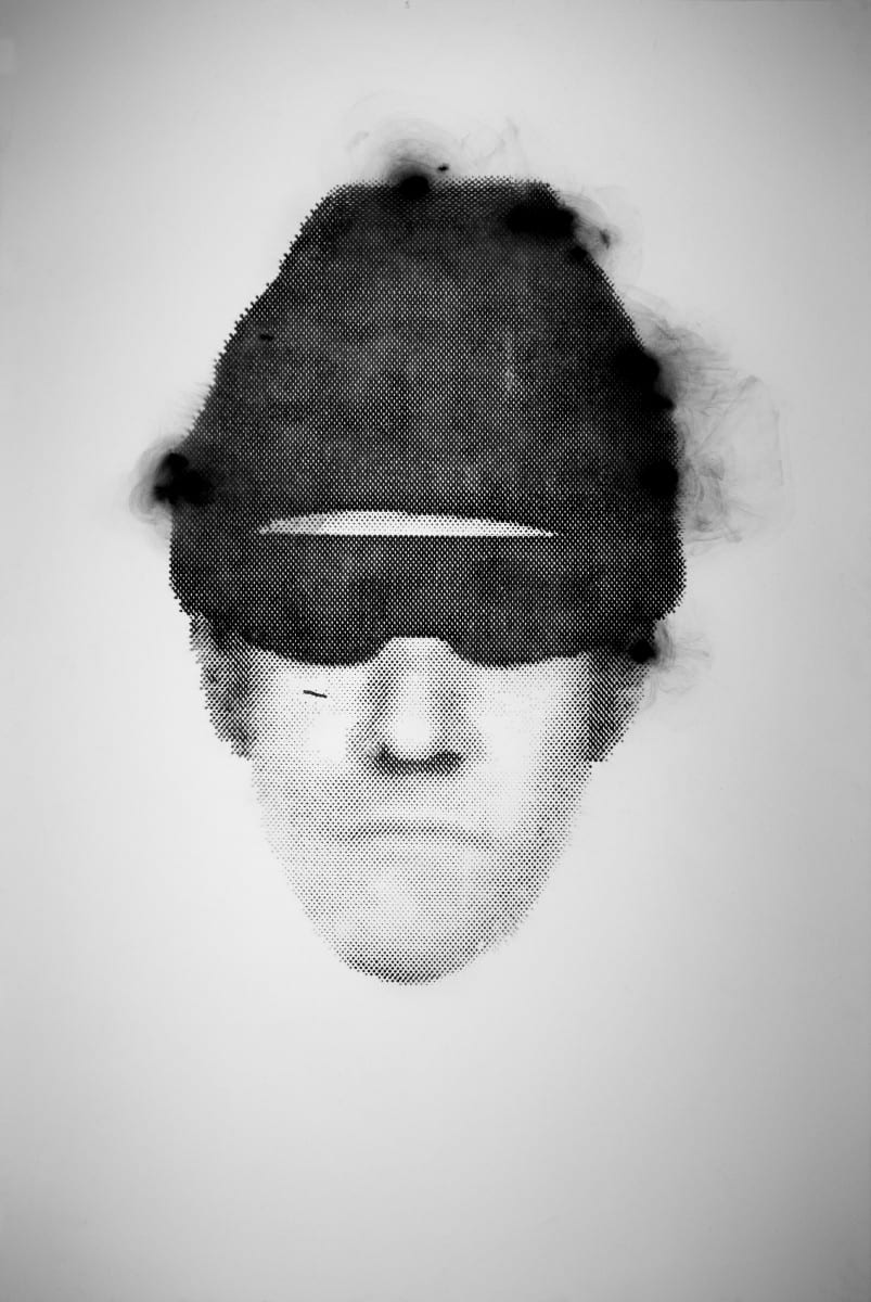 """Rob Tarbell, Suspect, smoke on paper, 60"""" x 40"""", 2014"""