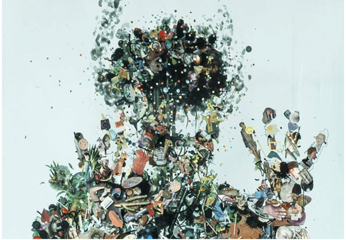 Dustin Yellin, Psychogeography no.43 (detail), 72 x 27 x 15 Inches  Glass, acrylic, collage, 2014.